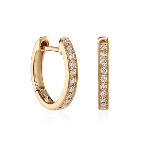 Yellow Gold Thread and Grain Diamond Hoops