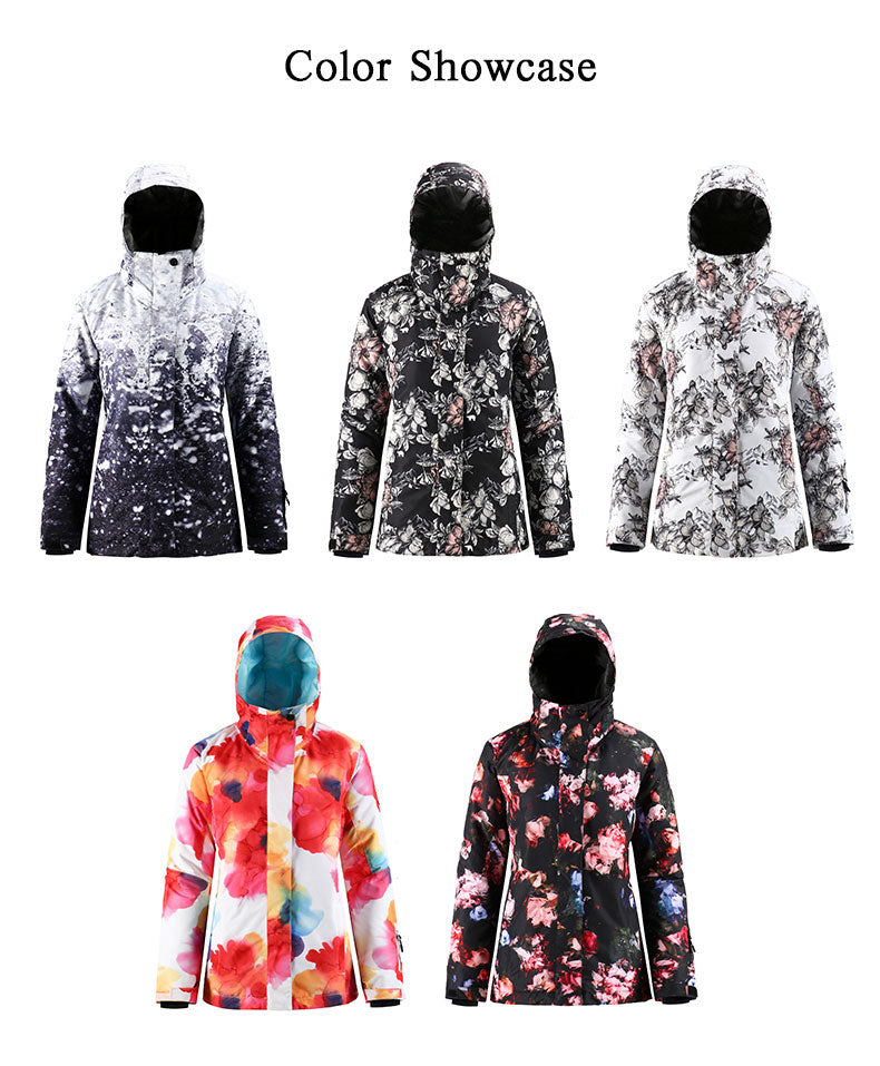 Women's SMN Mountain Freeze Colorful Print Waterproof Winter Snowboard Jacket