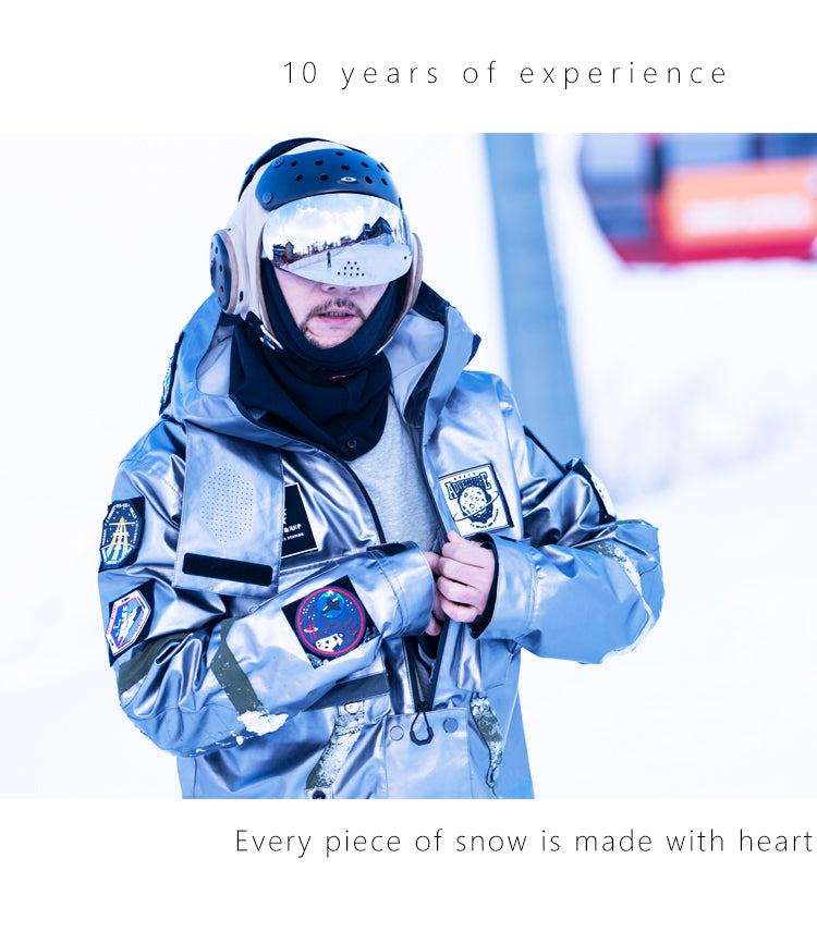 Men's PINGUP Nasa Winter Mountain Space exploration One Piece Snowboard Suits