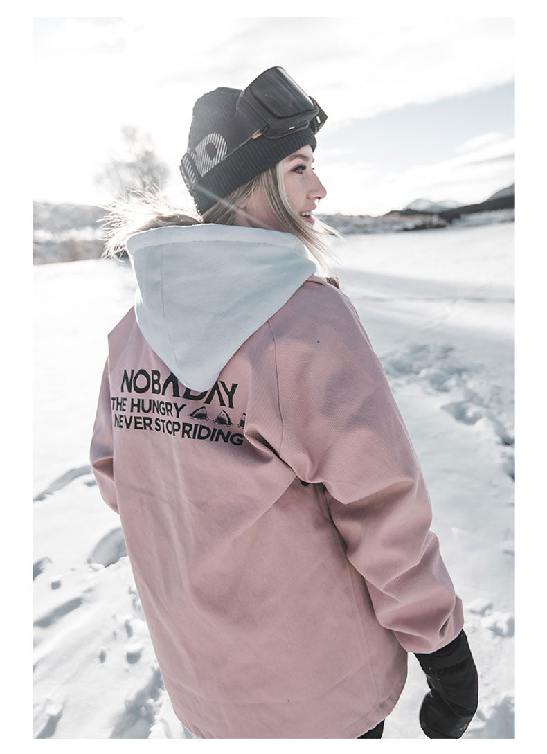Nobaday Unisex All Season Never Stop Riding Snowboard Coach Jacket
