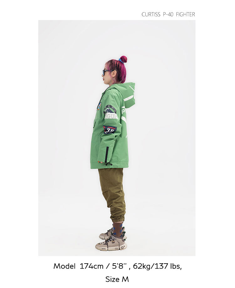 PINGUP Flying Tiger P-40 Fighter Pullover Snowboard Jacket