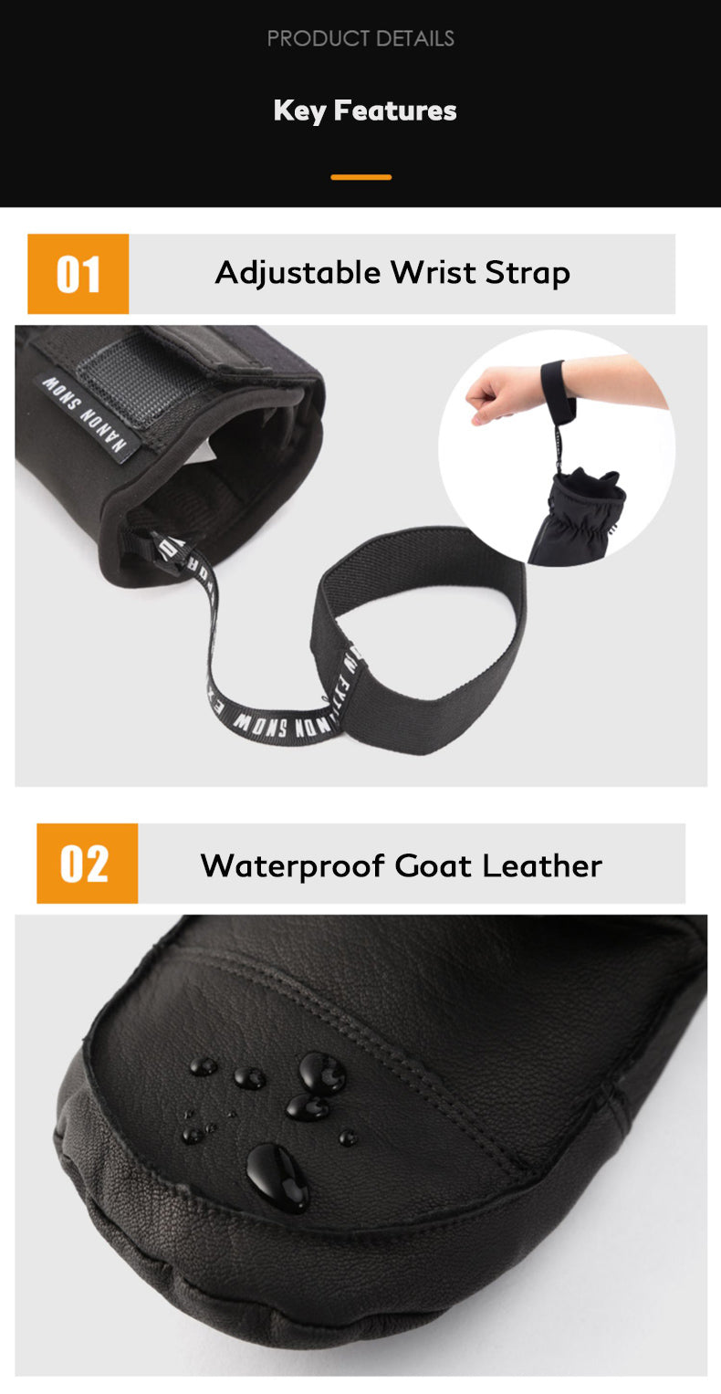 Goat Leather Nandn Winter All Weather Snowboard Gloves