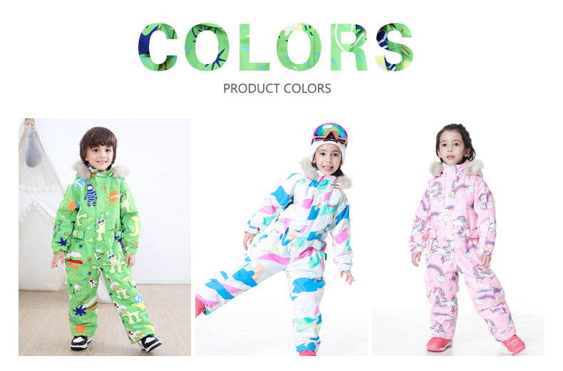 Kids Blue Magic Winter Fashion Colorful One Piece Coveralls Ski Suits Winter Jumpsuits