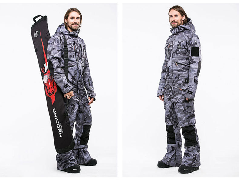 LD Ski Mountain Creation Unisex One Piece Ski Suits Winter Snowsuits