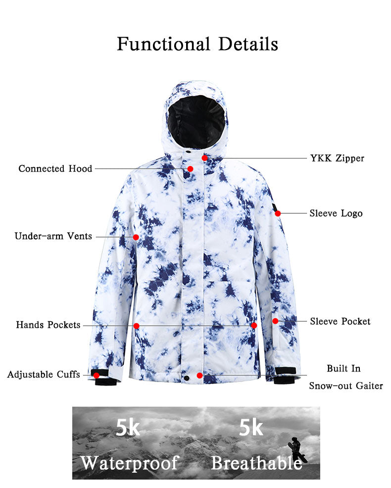 Men's SMN Winter Mountain Snowflake Freestyle Ski Snowboard Jacket