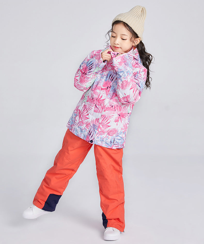 Girls Searipe Color Forest Two Pieces Snowsuit Winter Ski Suits