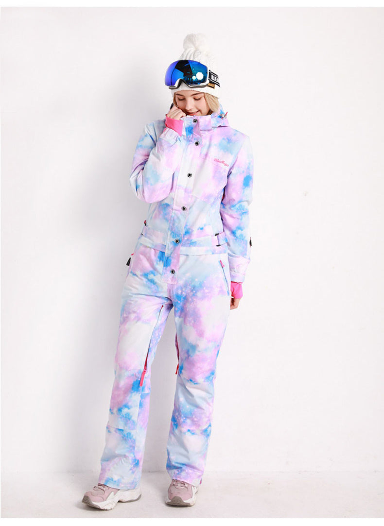 Women's Blue Magic Winter Colorful All In One Piece Ski Jumpsuit Winter Snowsuits