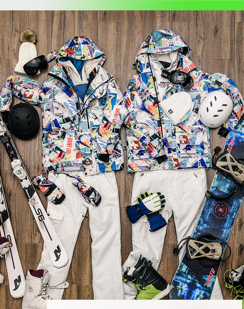 Women's Vector Stylish Poster Print Cute Winter Two Piece Snowboard Suits