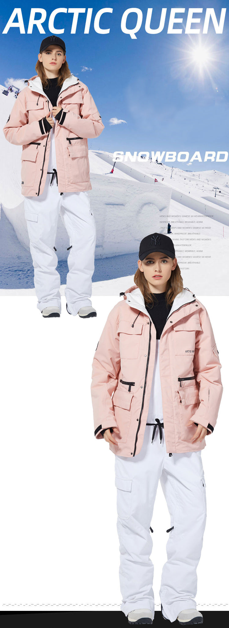 Women's Arctic Queen Top Quality Winter Fashion Outerwear Waterproof Ski Snowboard Jackets