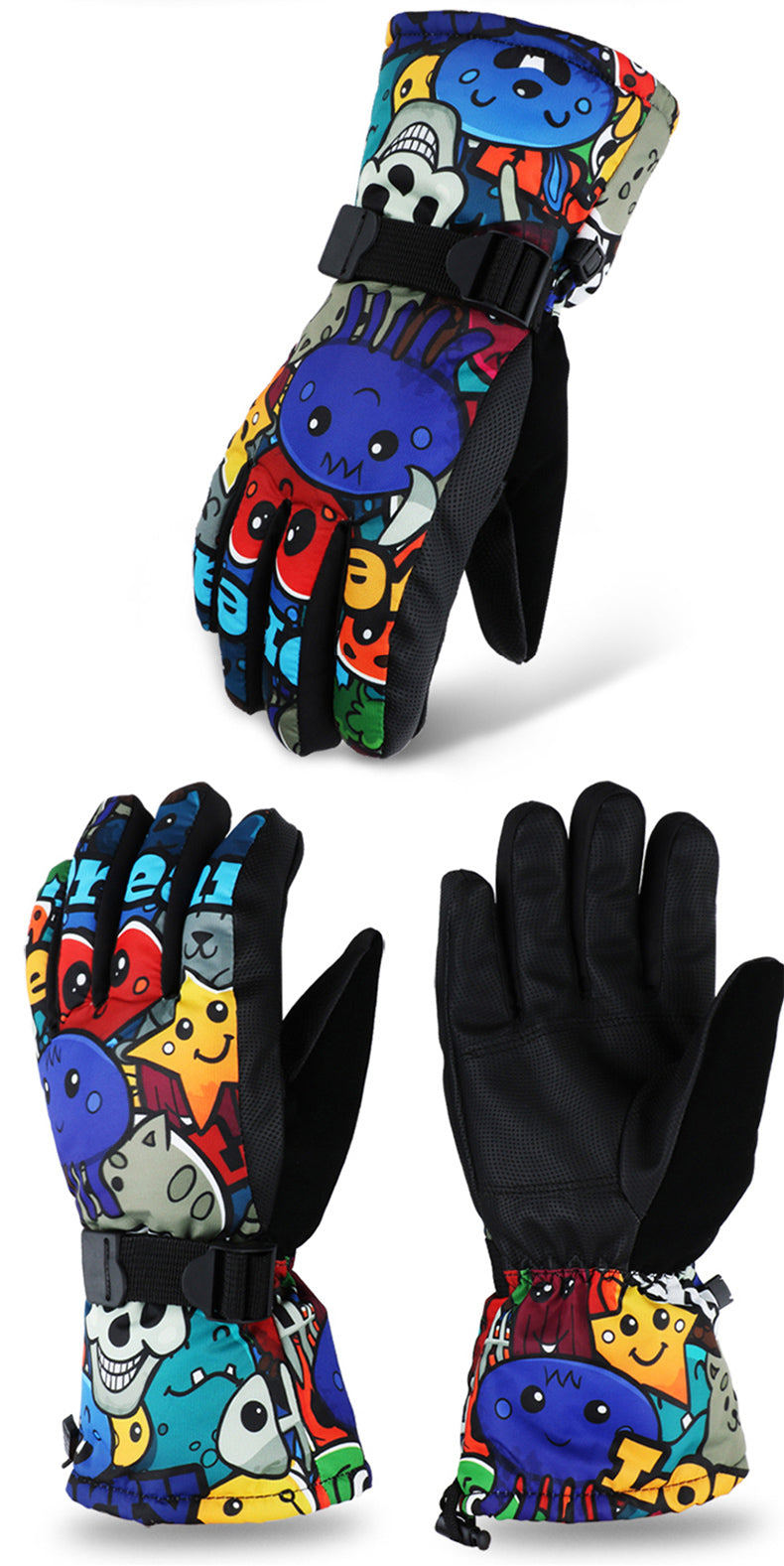 Women's Cute Cartoon Style Waterproof Snowboard Gloves