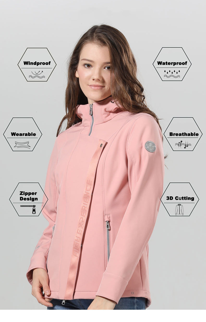 Women's High Experience polar Waterproof Hooded Fleece Jacket Snowboard Coat