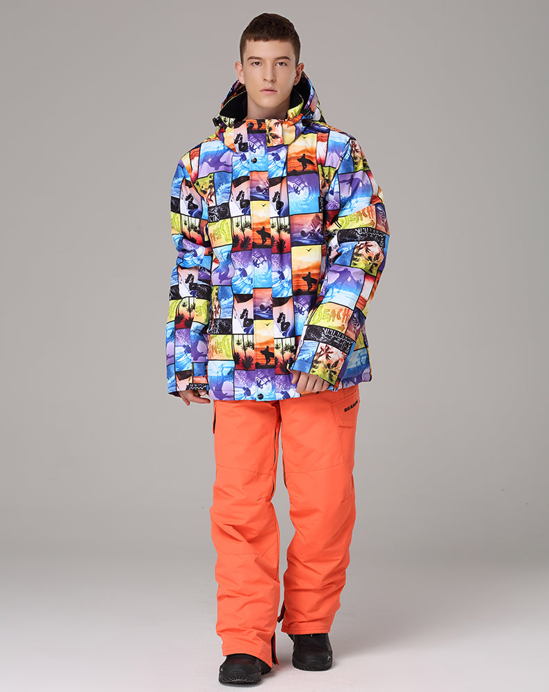 Mens Searipe Special Collection 3D Pattern Waterproof Ski Suits
