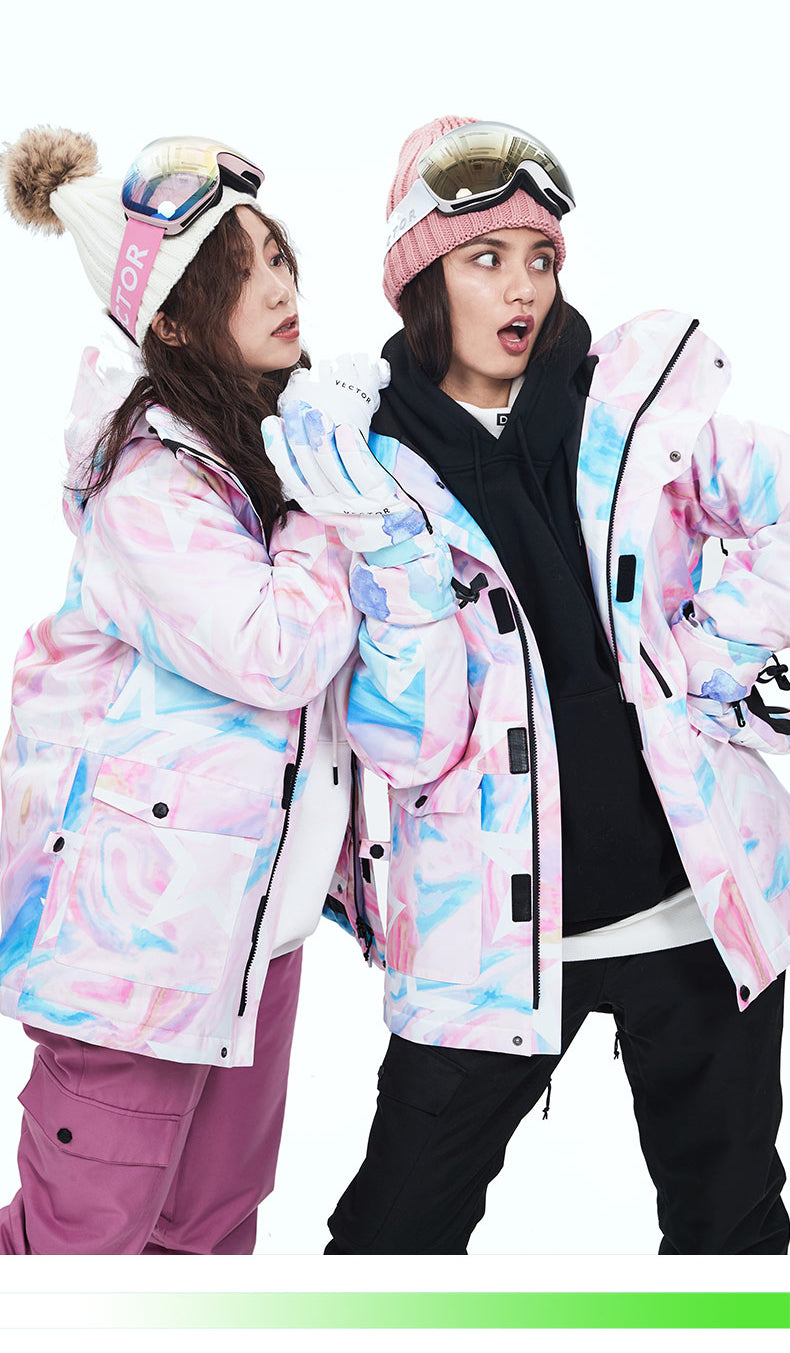 Women's Vector Magic Blue Winter Two Piece Pink Snowboard Suits