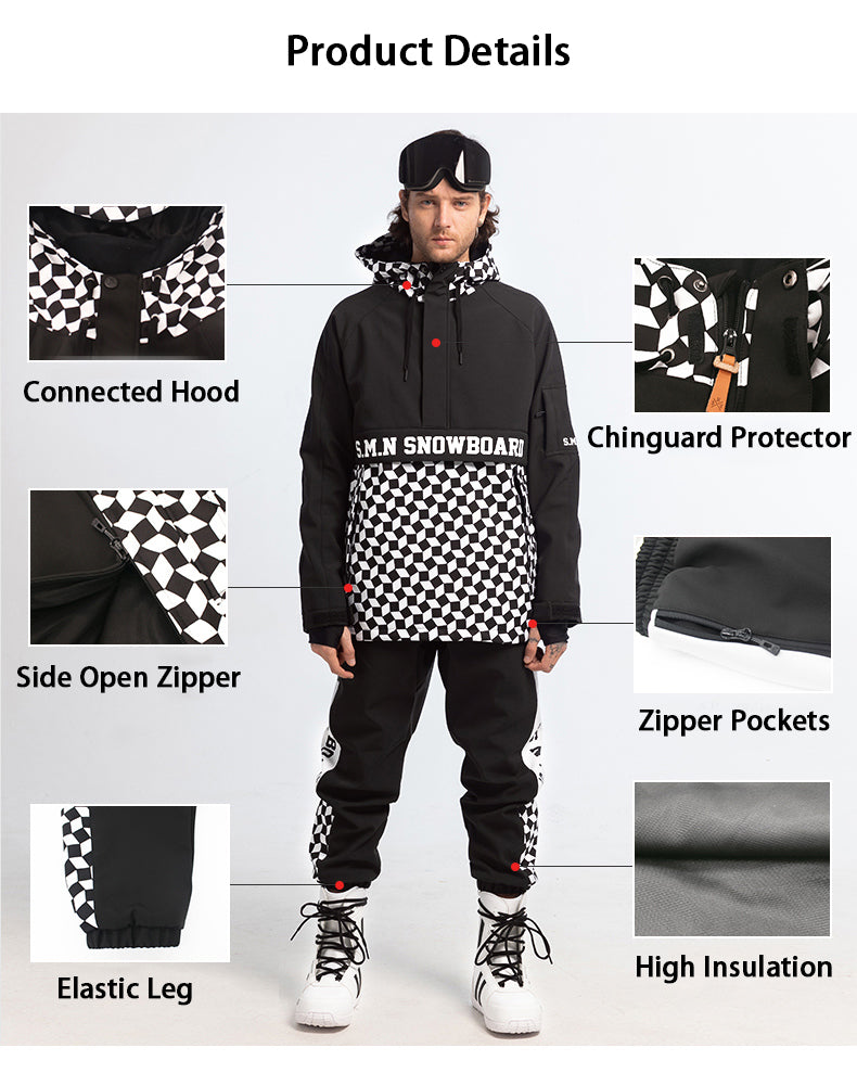 Mens SMN Top Fashion Snowboard Suit Snowsuit Jacket & Pants Set