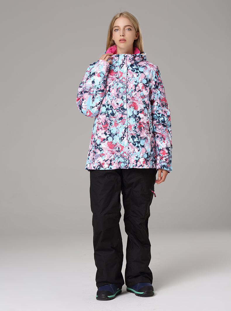 Women's Searipe Floral Art Flower Winter Warm Waterproof Ski Jacket