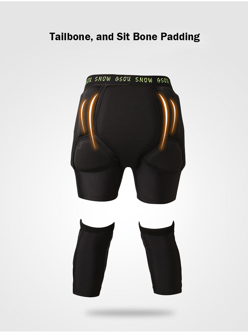 Gsou Snow Unisex Undercover Protective Shorts & Knee Pads Set