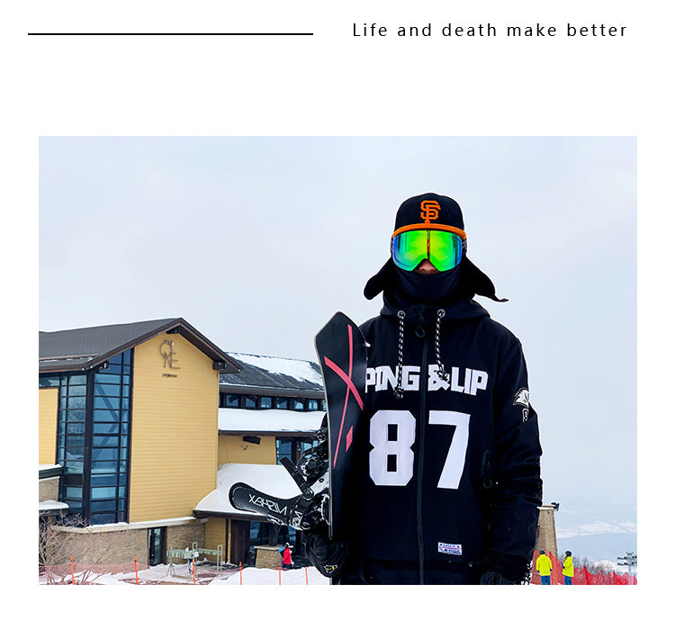Men's PINGUP Icy Hockey Dope Style One Piece Snowboard Suits
