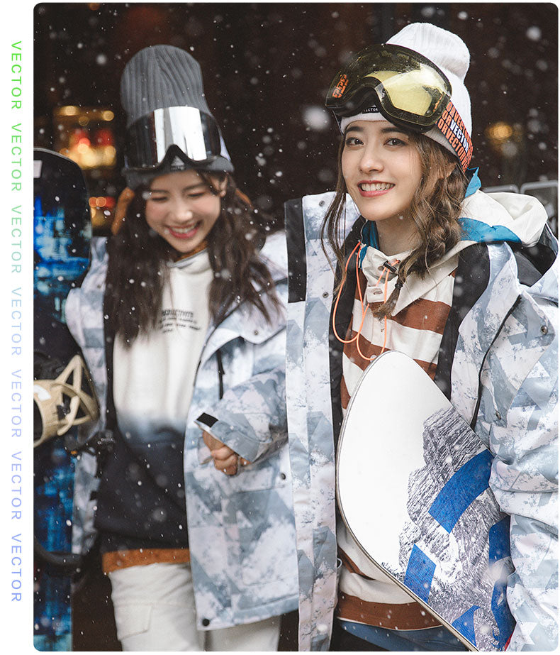 Men's Vector Mountains Shadow Print Winter Two Piece Unisex Snowboard Suits