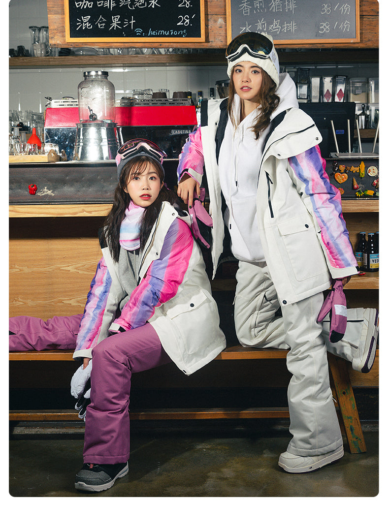 Women's Vector Snow Rainbow Winter Two Piece White Snowboard Suits