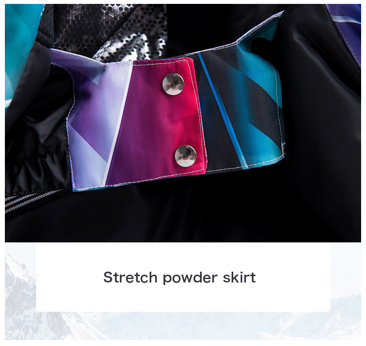 Arctic Queen Waterproof Colorful Printed Insulated Ski Suits Jacket and Pants Set