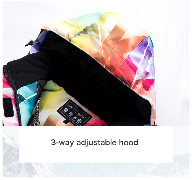 Women's Waterproof Colorful Printed Insulated Ski Suits Jacket and Pants Set