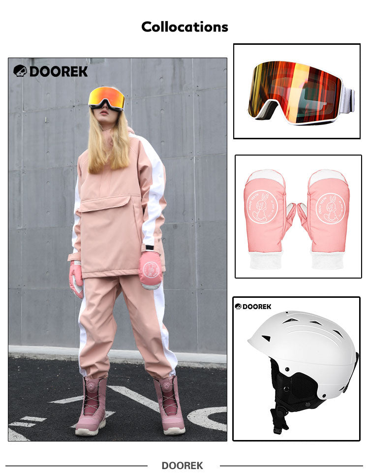 Womens Doorek Young Fashion Pink Snowboard Suit Jacket & Pants Set