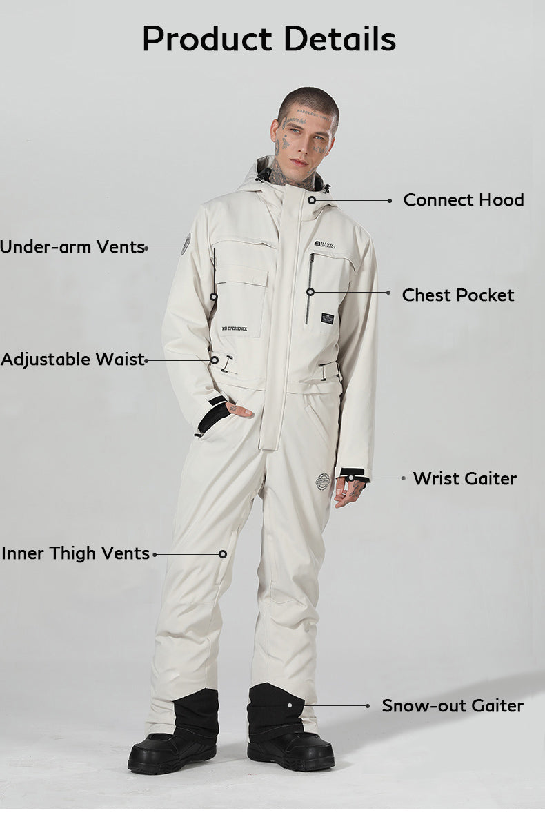 Men's High Experience Winter Snowsports Stylish One Piece Snowboard Suits