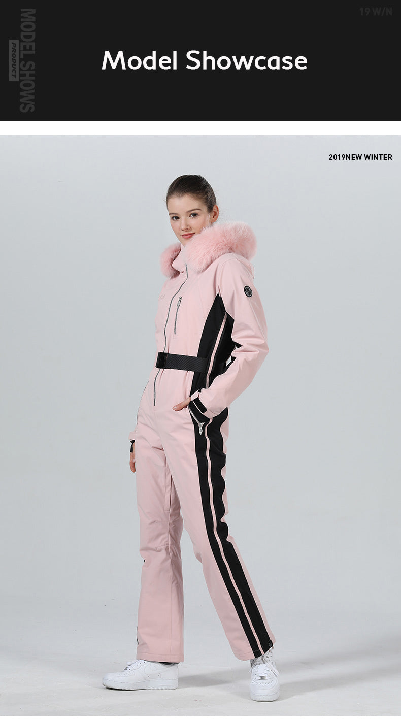 High Experience Women's Winter Fur Hood Chic One Piece Ski Jumpsuit