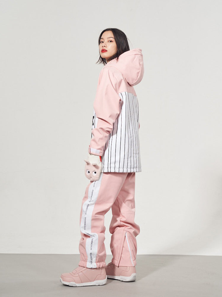 Womens Doorek Dope Young Fashion Pink Snowboard Suit Jacket & Pants Set