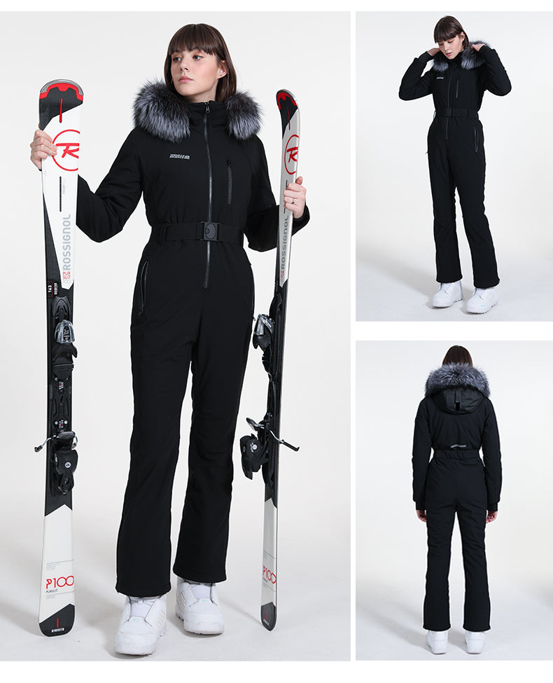 High Experience Mountain Chic Faux Fur Hood Onesie Ski Jumpsuit Overall Snowsuit