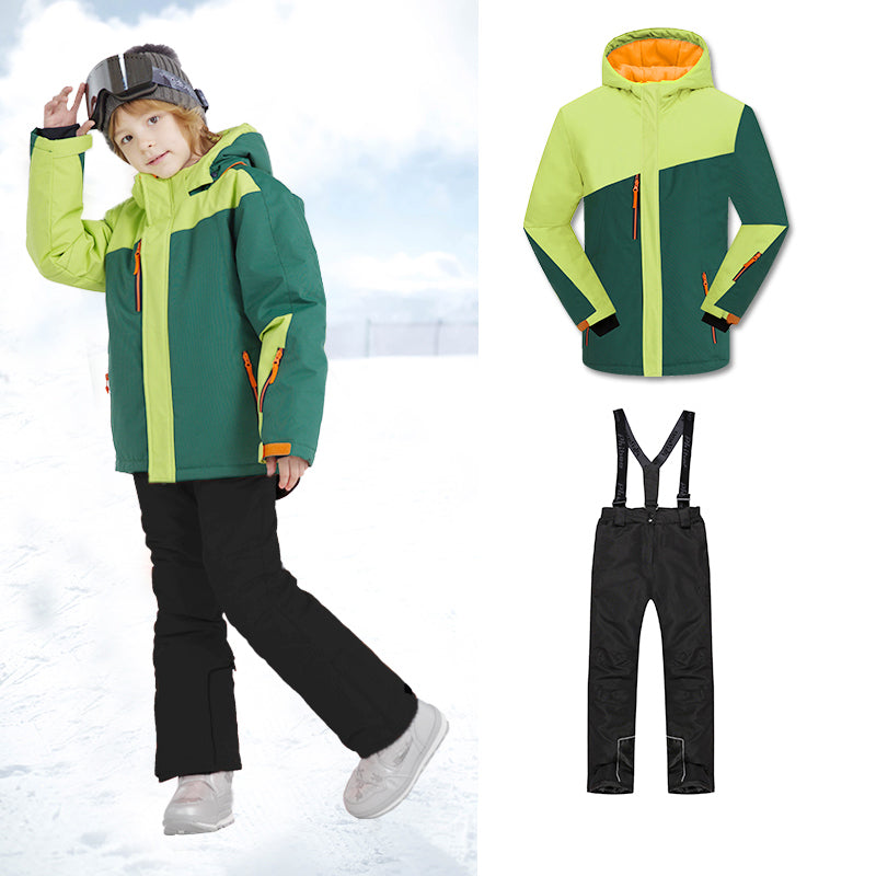 Boys Unisex Winter Mountain Snowsuits Waterproof Jackets & Pants Set