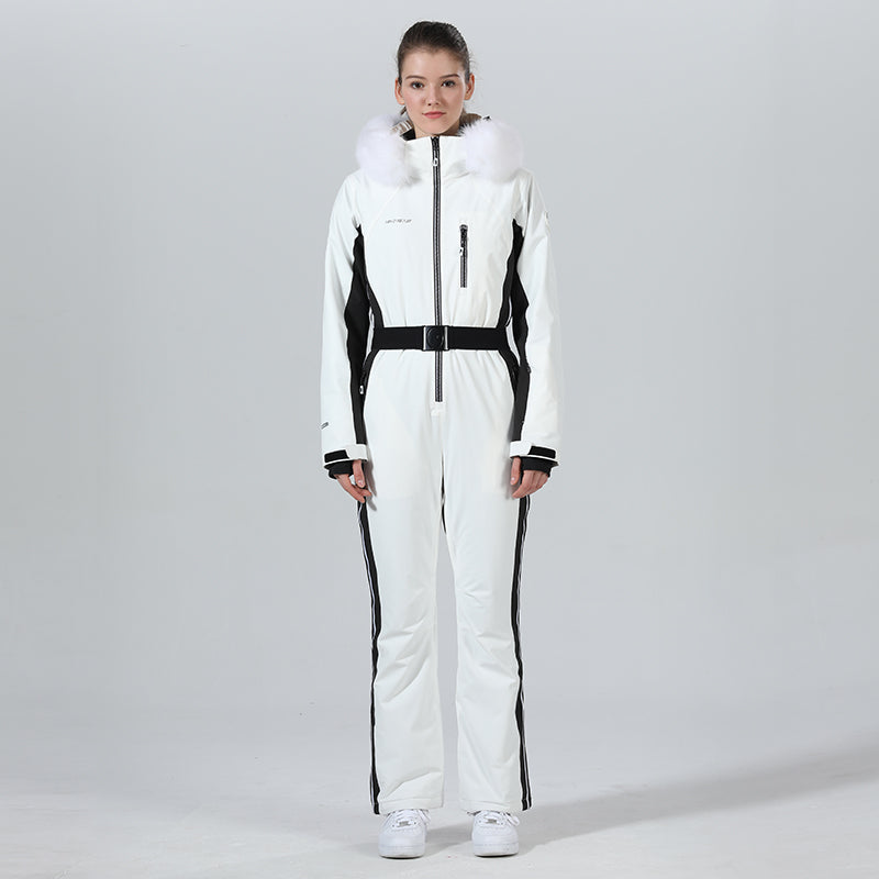High Experience Women's Fur Chic Hood One Piece Ski Jumpsuit