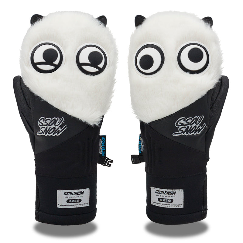 Women's Gsou Snow Mascot Furry Snowboard Gloves Winter Mittens