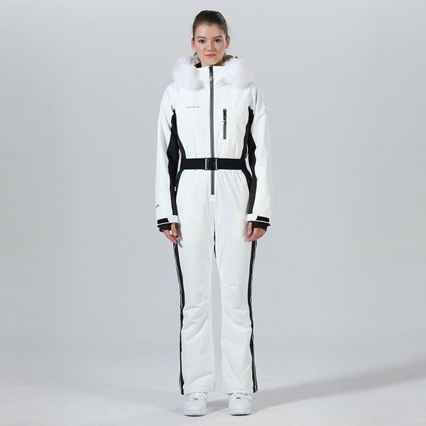 High Experience Women's Winter Fur Hood Chic One Piece White Ski Jumpsuit