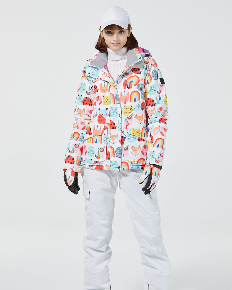 Women's Winter Animals Print Outdoor Fashion Cute Snowboard Jacket