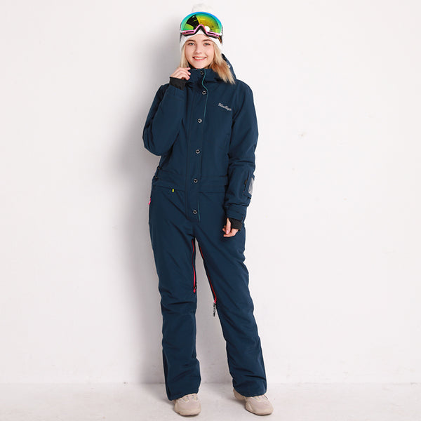Women's Blue Magic Winter Chic Full Body One Piece Ski Jumpsuit Snowsuits