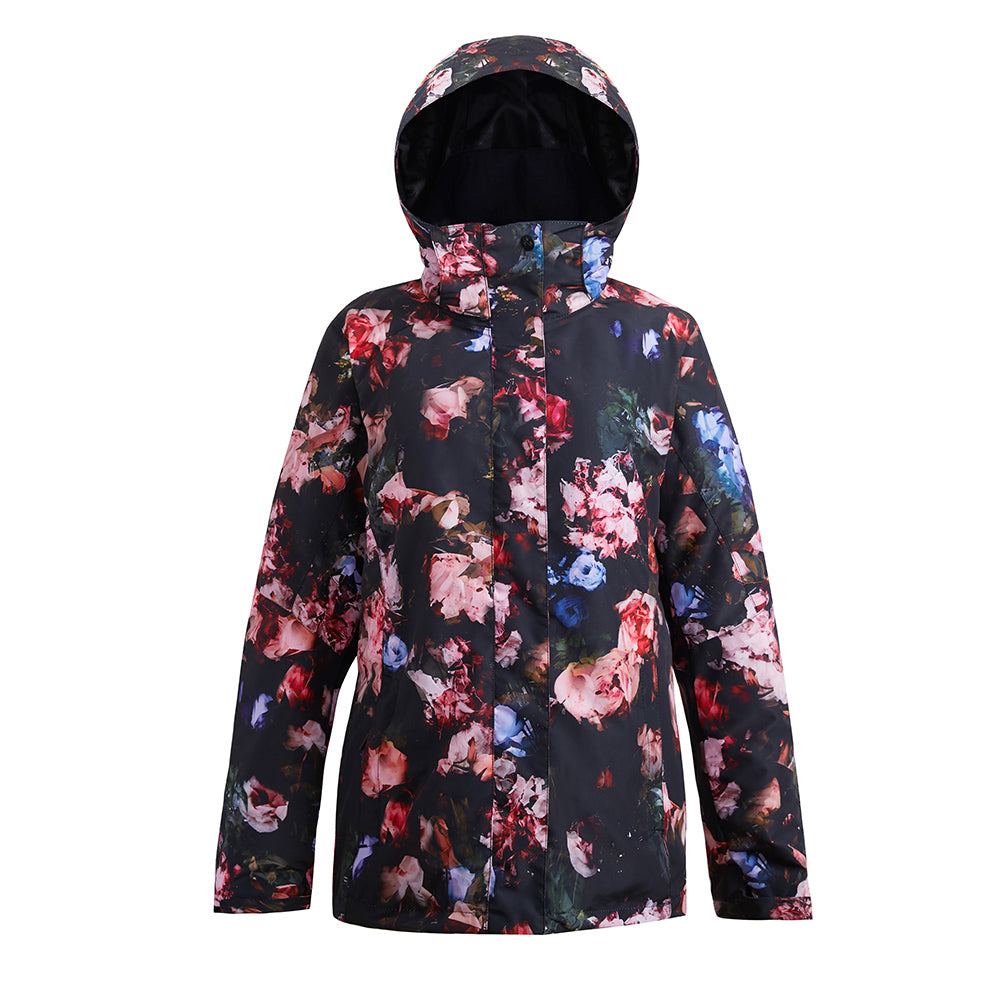 Women's SMN Flower Bloom Colorful Print Waterproof Winter Snowboard Jacket
