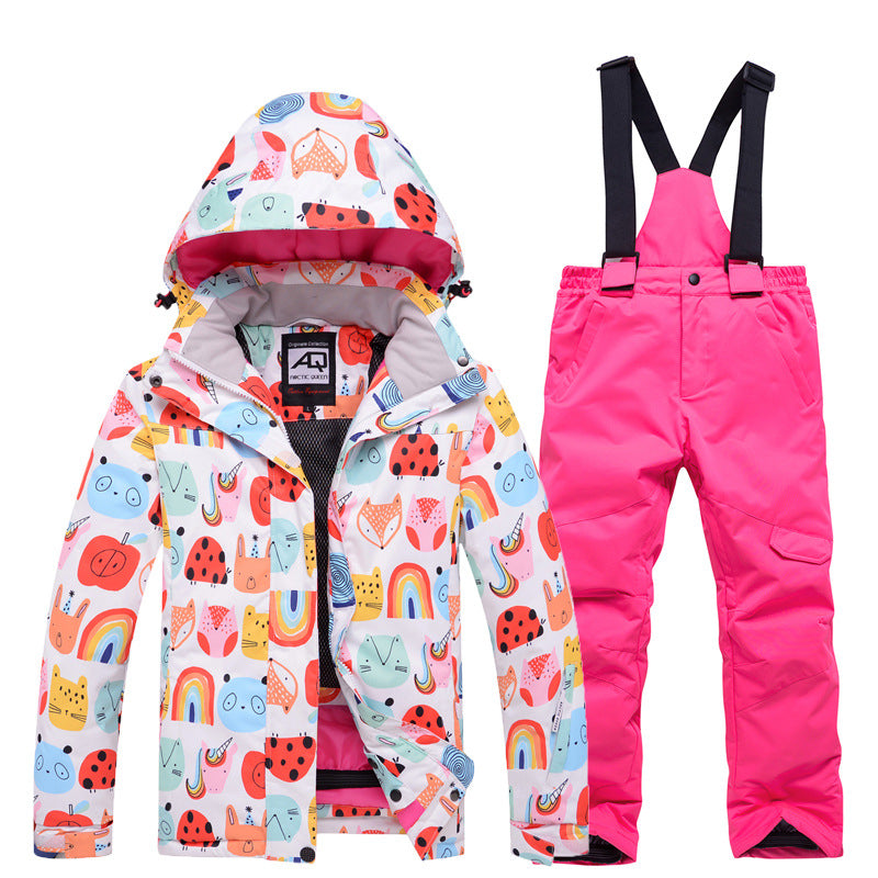 Girls Arctic Queen Winter Outdoor Cartoon Pattern Waterproof Snow Suits