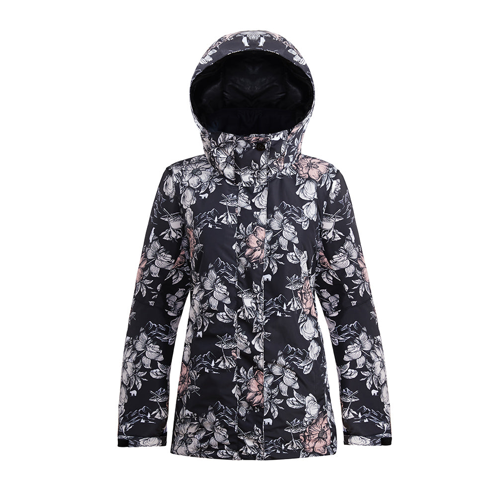Women's SMN Alpine Flowers Colorful Print Waterproof Winter Snowboard Jacket