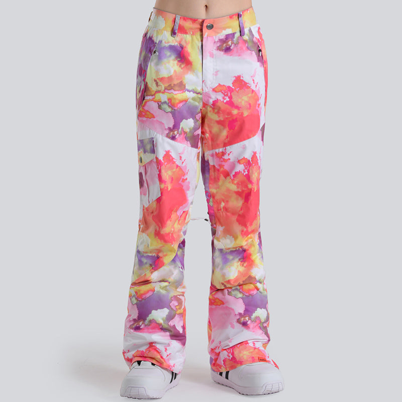 Gsou Snow Colorful Camourflage Waterproof Women's Snowboard/Ski Pants