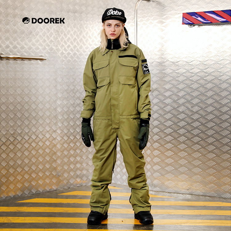 Women's Doorek Superb Army Green One Piece Ski Suits Winter Snowsuits