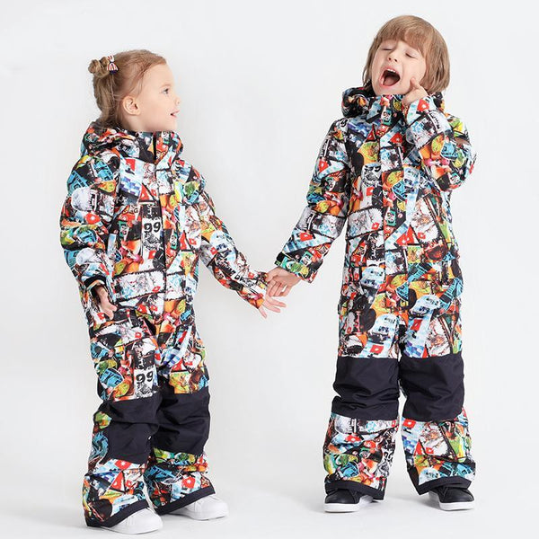 Boy & Girls Unisex Waterproof Colorful Winter Cuty Ski Suit One Piece Snowsuits