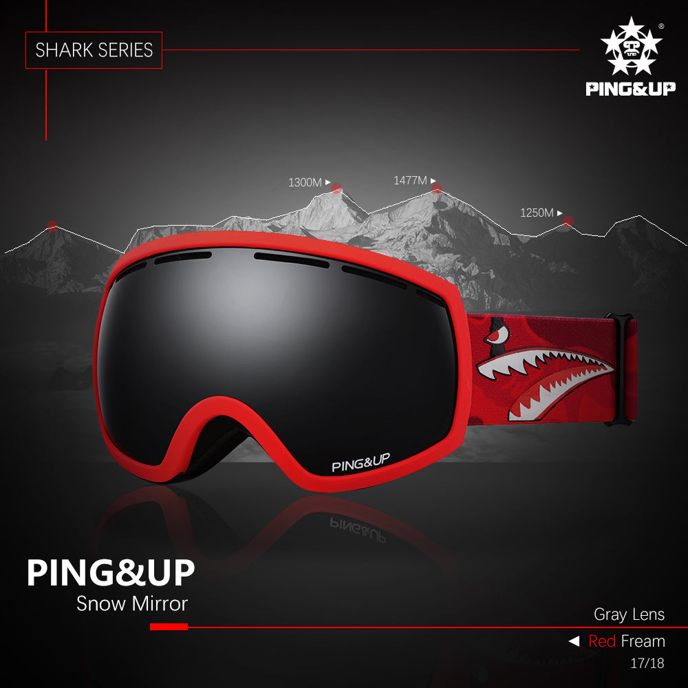 Womens & Mens Unisex PINGUP Shark Snow Goggles