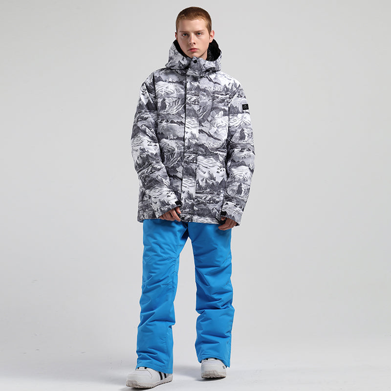 Men's SMN Winter Mountain Snowflake Freestyle Snow Jacket & Pants Set