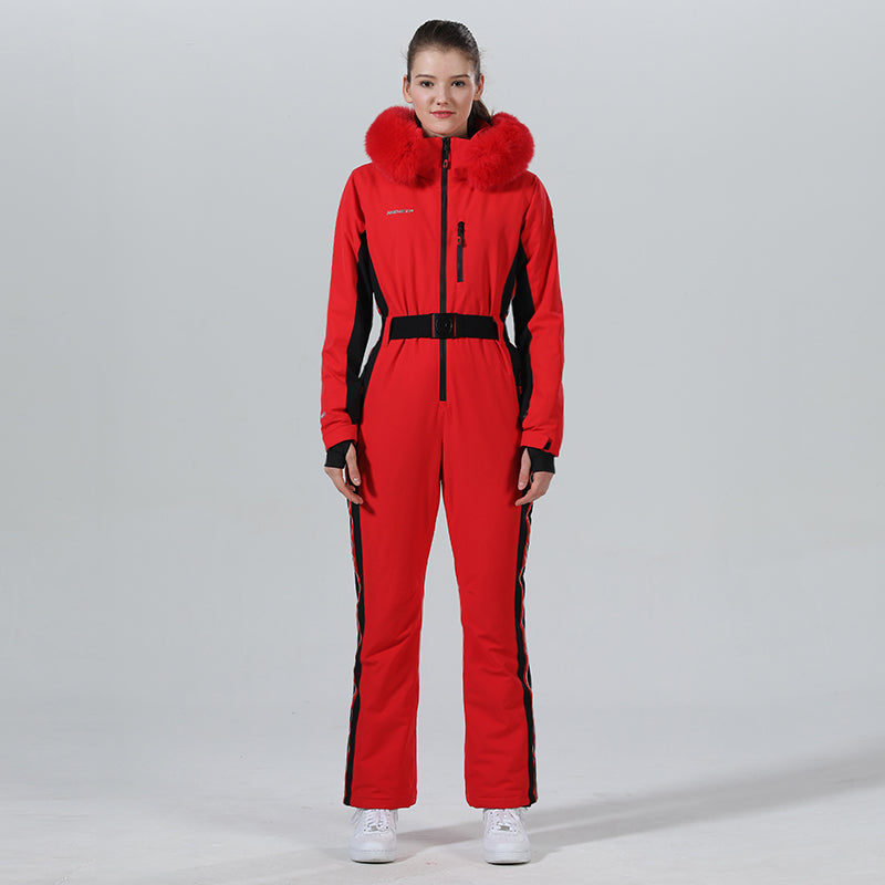 High Experience Women's Fur Hood One Piece Ski Jumpsuit