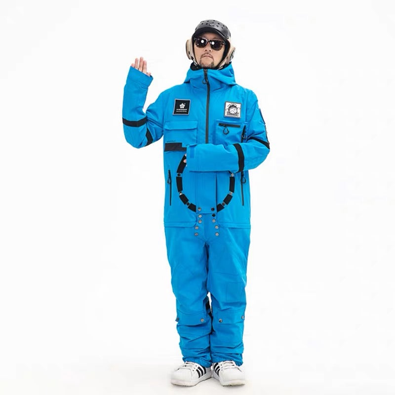 Men's PINGUP Nasa Space Station One Piece Snowboard Suits Ski Jumpsuit