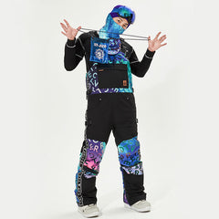 Men's Vector Glittery Star Insulated Overalls Bib Snow Pants