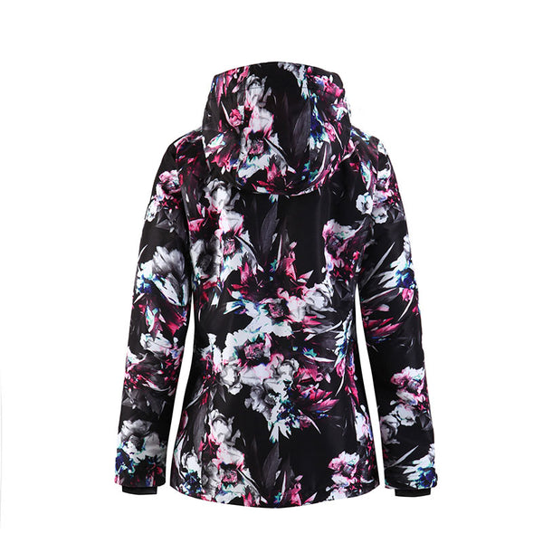Women's SMN Waterproof Ice Flower Colorful Print Ski Snowboard Jacket