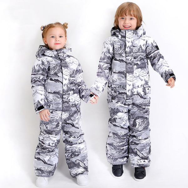 Kids Unisex Waterproof Colorful Winter Outdoor Ski Suit One Piece Snowsuits For Boy & Girl