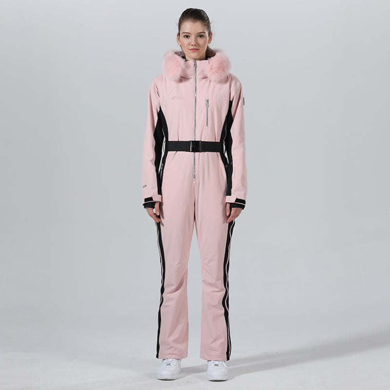 Womens Winter Chic Fur Hood One Piece Ski Jumpsuit Overall Ski Suit